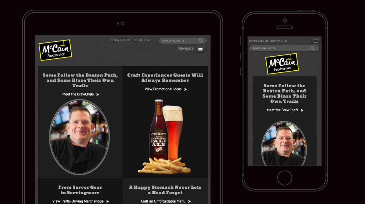 Brew City landing page on tablet and phone